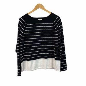 J. Jill black and white cotton sweater